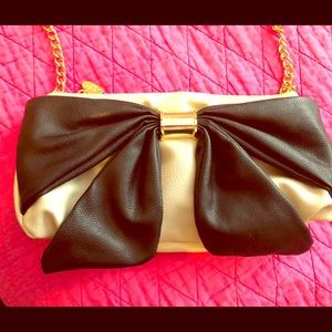 Betsy Johnson beige and black clutch/small bag